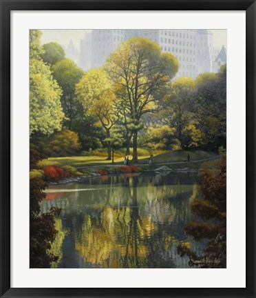 Framed Reflection Of The Park Print
