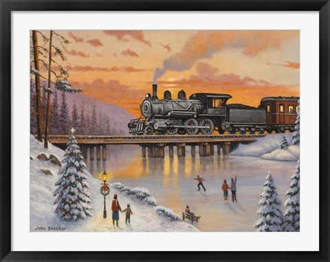 Framed Railroad On The Ice Bridge Print