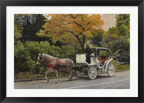 Framed Carriage At Central Park Print