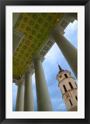 Framed Bell Tower of the Cathedral, Vilnius, Lithuania Print