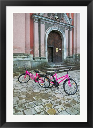 Framed Bicycles Outside a Traditional House, Vilnius, Lithuania Print