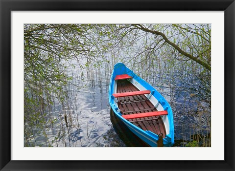 Framed Canoe on Lake, Trakai, Lithuania Print