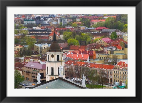 Framed Cityscape dominated by Cathedral Bell Tower, Vilnius, Lithuania Print