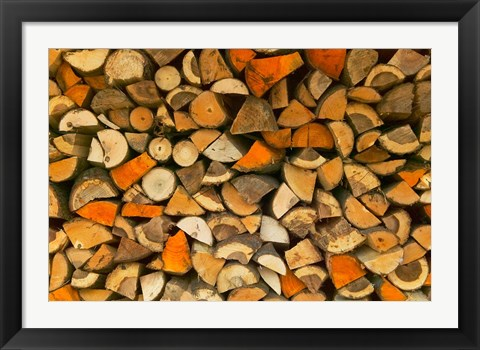 Framed Stacked Firewood, Lithuania Print