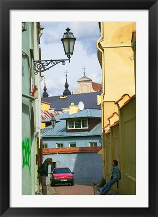 Framed Traditional House in Old Town, Vilnius, Lithuania Print