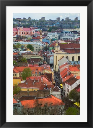 Framed Wall Decorated with Teapot and Cobbled Street in the Old Town, Vilnius, Lithuania I Print
