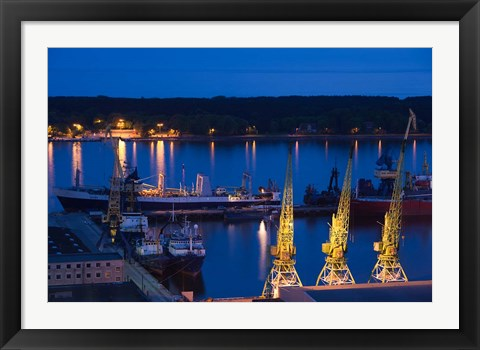 Framed Lithuania, Klaipeda, Commercial port and Lagoon Print