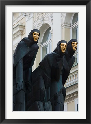 Framed Lithuania, Vilnius, Three Muses statue Print