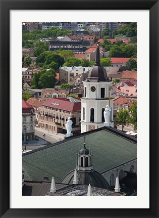 Framed Royal Palace and Vilnius Cathedral, Gediminas Hill elevated view of Old Town, Vilnius, Lithuania Print