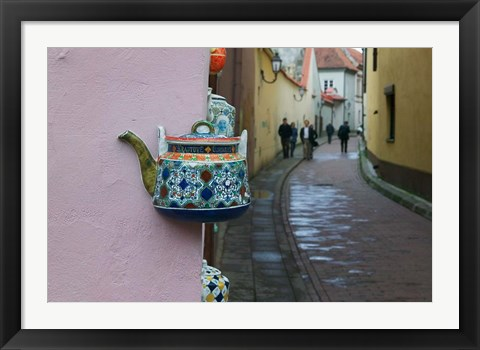 Framed Wall Decorated with Teapot and Cobbled Street in the Old Town, Vilnius, Lithuania II Print