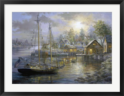 Framed Harbor Town Print