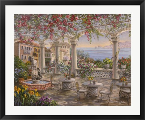 Framed Dining On The Terrace Print