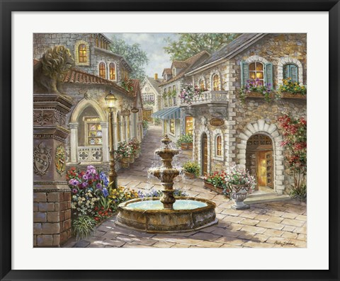 Framed Cobblestone Fountain Print