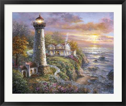 Framed Lighthouse Haven Print