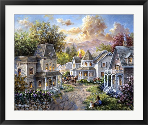 Framed Main Street Along A Country Village Print