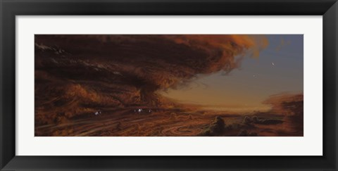 Framed Deep within the raging storm that is the Great Red Spot of Jupiter Print