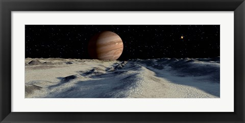 Framed Jupiter's large moon, Europa, is covered by a thick Crust of ice Print