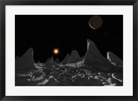 Framed Ice spires on Jupiter's large Moon, Callisto Print