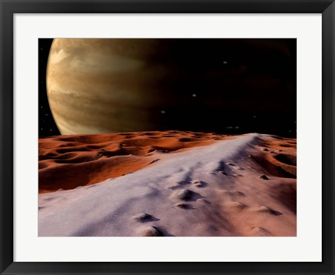 Framed Jupiter seen from the Surface of its Moon, Amalthea Print