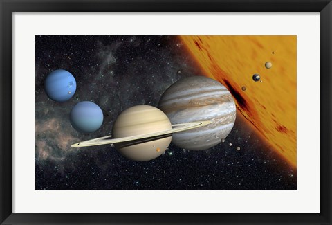 Framed Planets and Larger Moons to scale with the Sun Print