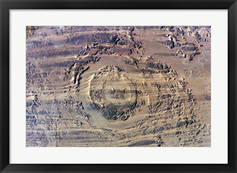 Framed impact of an Asteroid or comet in the Sahara Desert Print