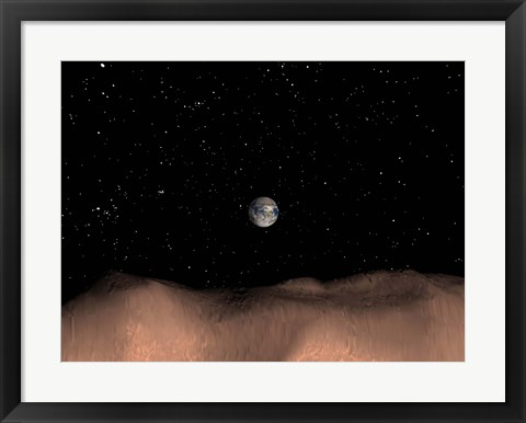 Framed view of Earth as seen from the surface of the Asteroid Toutatis Print