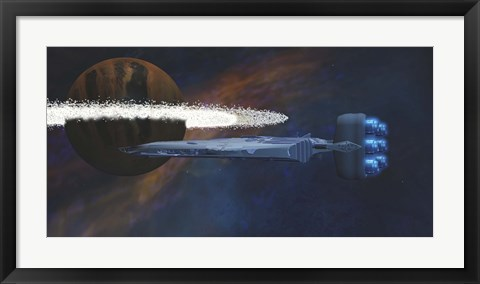 Framed Planet with a Ring of Asteroids Print