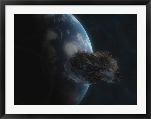 Framed Asteroid in Front of the Earth I Print