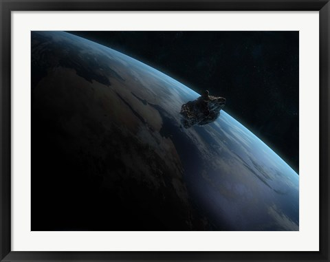 Framed Asteroid in Front of the Earth II Print