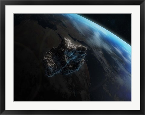 Framed Asteroid in Front of the Earth III Print