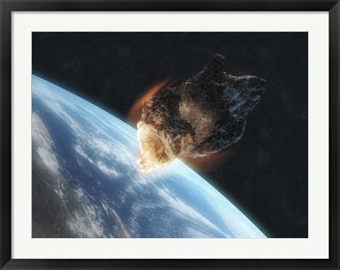 Framed Asteroid in Front of the Earth V Print