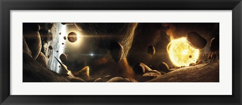 Framed Asteroid field next to an Earth-like Planet in a Dual-star System Print