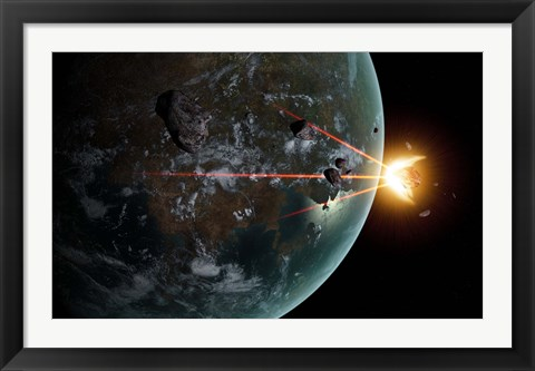 Framed Laser Anti-Asteroid Defense System Print