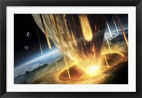 Framed Giant Asteroid collides with the Earth Print
