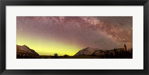 Framed Aurora borealis, Comet Panstarrs and Milky Way Print