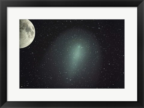 Framed Size of Comet Holmes in comparison with the Moon Print