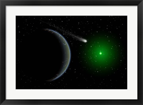 Framed Comet passing a distant Alien World Print
