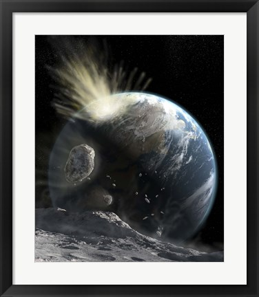 Framed catastrophic Comet impact on Earth Print