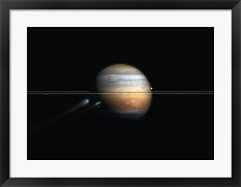 Framed Break up of a comet from Gravitational Forces Print