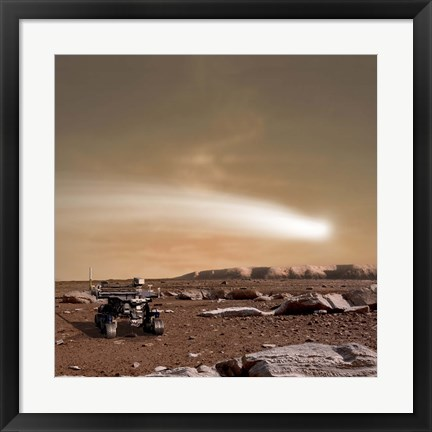 Framed Close pass of Comet C/2013 A1 over Mars Print