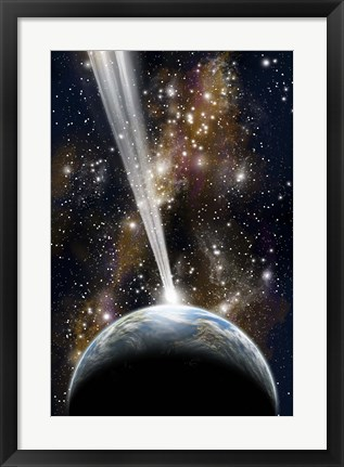 Framed Planet on Collision with a Comet Print
