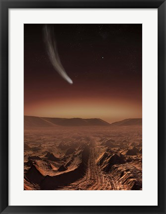 Framed Comet lights up the landscape of Candor Chasma over Mars Print