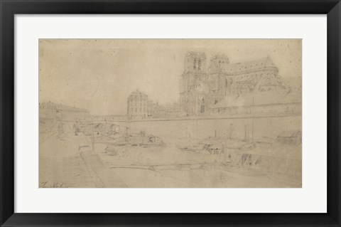 Framed Notre-Dame View Of The Docks In The South, 19th Century Print