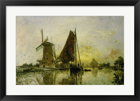 Framed Boats Near Mills In Holland, 1868 Print