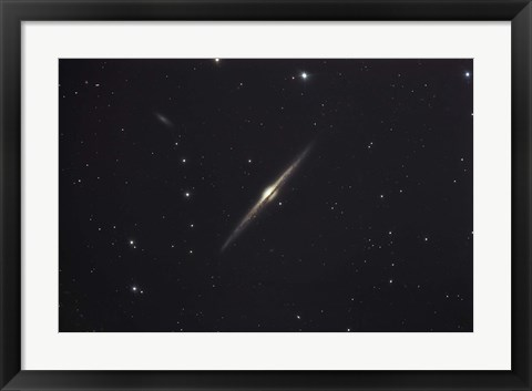 Framed NGC 4565, an edge-on unbarred spiral galaxy in the Constellation Coma Berenices Print