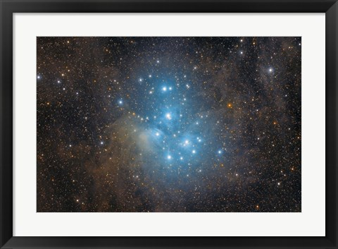 Framed Pleiades, an open star cluster in the Constellation of Taurus Print