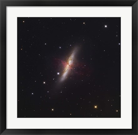 Framed Messier 82, a starburst galaxy in the Constellation Ursa Major Print
