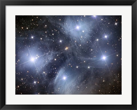 Framed Pleiades, an open cluster of stars in the Constellation Taurus Print