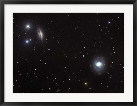 Framed Spiral galaxies NGC 1068 and NGC 1055 located in the Constellation Cetus Print