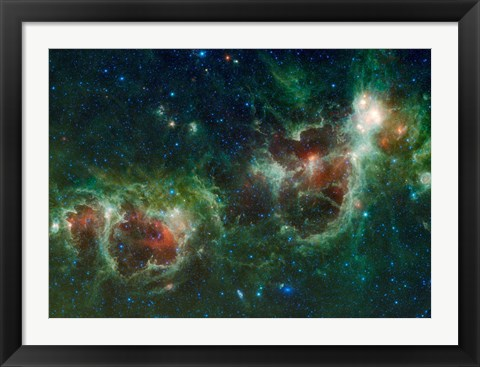Framed Infrared mosaic of the Heart and Soul nebulae in the Constellation Cassiopeia Print